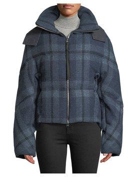 Check Flannel Cropped Puffer Jacket by Jw Anderson