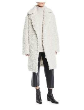 Shaggy Open Front Long Coat by Vince