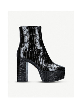Spritzer Mock Croc Leather Platform Boots by Kurt Geiger London