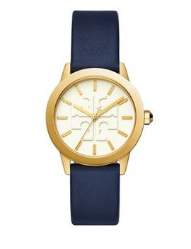 Womens Three Hand Gigi Goldtone And Navy Leather Watch by Tory Burch