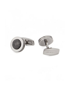 German Made Round Cufflinks With High Shine Crystal Inlay by Boss