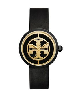 The Reva Luggage Goldtone Black Leather Watch by Tory Burch