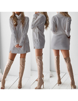 Women Winter Sweater Knit Turtleneck Warm Long Sleeve Pocket Sexy Mini Dress by Unbranded/Generic