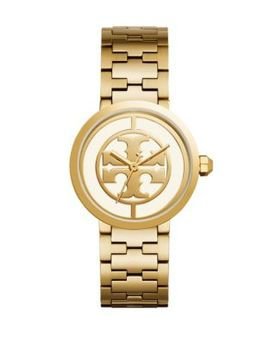 The Reva Goldtone Stainless Steel Link Bracelet Watch by Tory Burch