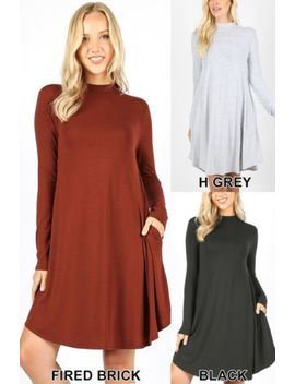 S 3 X Women's Long Sleeve Knit Tunic Dress Drape Swing Trapeze Mock Neck Pockets by Tickled Tunic