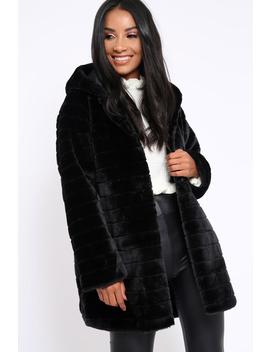 Black Soft Faux Fur Hooded Coat   Kila by Rebellious Fashion