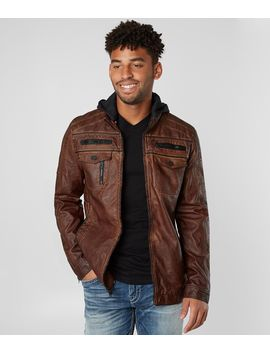Washed Faux Leather Jacket by Buckle Black
