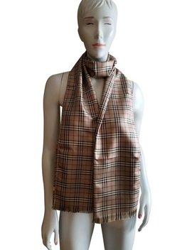 Beige Classic Mini Check Signature Jacquard Silk Scarf/Wrap by Burberry