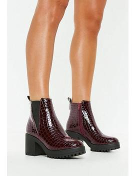 Burgundy Croc Chunky Chelsea Ankle Boots by Missguided