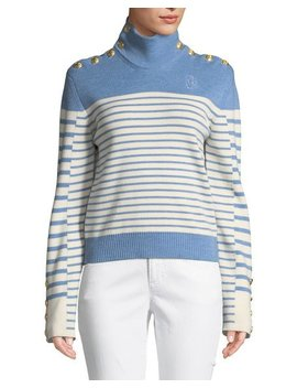 Turtleneck Striped Merino Wool Sweater W/ Golden Button Detail by Jw Anderson