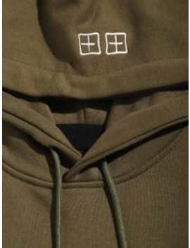 Embroidered Letter Casual Hoodie   Khaki M by Zaful