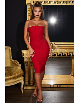 Making Waves Strapless Bandeau Belted Midi In Red by Oh Polly