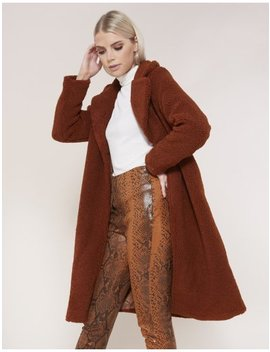 Tan Long Teddy Coat by Public Desire