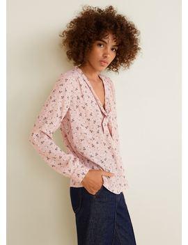 Принтованная блузка с бантом by Mango