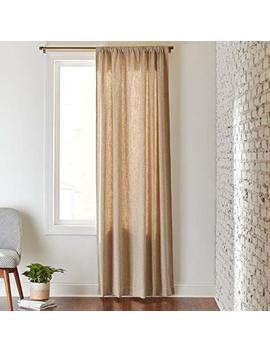 "Rivet Mid Century Modern Tweed Linen Blend Curtain, One Panel,  52"" X 84"", Rod Pocket, Cream Pebble by Rivet"