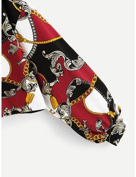 Round Neck Scarf Print Pullover by Shein