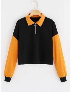 O Ring Zip Front Two Tone Sweatshirt by Shein