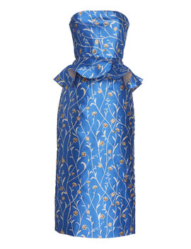 Exclusive Blues Is A Woman Strapless Satin Dress by Johanna Ortiz