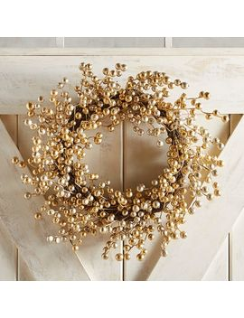 "21"" Golden Glittered Berry Wreath by Pier1 Imports"