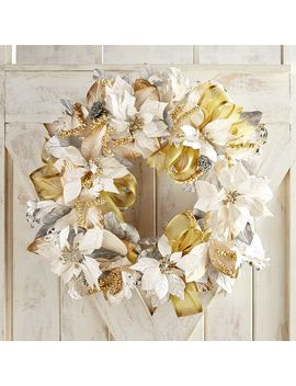 "28"" Luxury Silver &Amp; Gold Faux Poinsettia Wreath by Pier1 Imports"