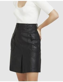 Midi Vegan Leather Skirt by Aris