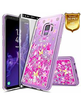S9 Plus Case, Galaxy S9 Plus Glitter Case W/[Screen Protector Premium Clear], Nage Bee Liquid Quicksand Waterfall Flowing Sparkle Bling Girls Cute Case Designed For Samsung Galaxy S9 Plus  Butterfly by Nage Bee