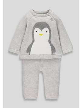 Unisex Penguin Knitted Set (Tiny Baby 18mths) by Matalan
