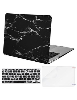 Mosiso Plastic Pattern Hard Case Shell & Keyboard Cover & Screen Protector Compatible Mac Book Air 11 Inch (Models: A1370 & A1465), Black Marble by Mosiso