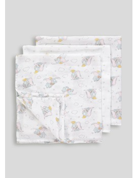 3 Pack Disney Dumbo Muslin Squares (One Size) by Matalan