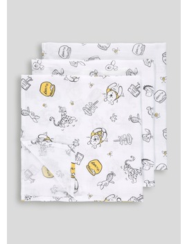 3 Pack Winnie The Pooh Muslin Squares (One Size) by Matalan