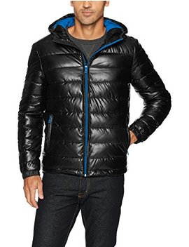 Cole Haan Signature Men's Hooded Faux Leather Jacket by Cole Haan Signature