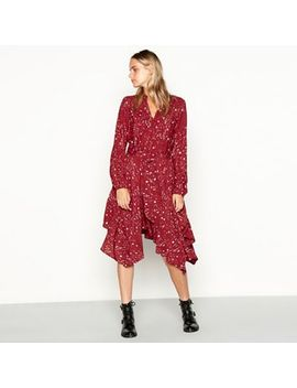 Nine By Savannah Miller   Red Star And Moon Print Long Sleeve High Low Dress by Nine By Savannah Miller