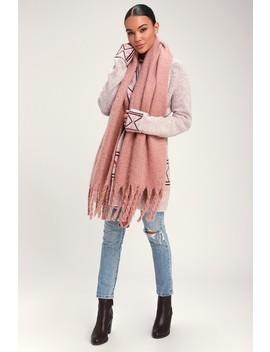 Come A Little Closer Blush Pink Scarf by Lulus