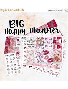 New Release Sale Glitter And Lace Weekly Kit   For Big Happy Planner Stickers   Valentine's Day by Etsy
