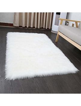 Faux Fur Sheepskin Style Rug 50 X 150 Cm Faux Fleece Fluffy Area Rugs Anti Skid Yoga Carpet For Living Room Bedroom Sofa Floor Rugs (White) by Tongfushop