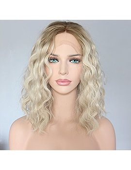 Seraphic Wig Middle Part Ombre Blonde Lace Front Synthetic Hair Short Bob Wig Uk Curly Wavy Decent Parting Space Heat Friendly Party Wig by Seraphic Wig