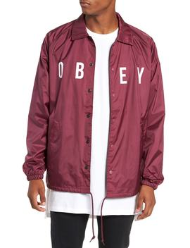 Anyway Snap Front Hooded Coach's Jacket by Obey