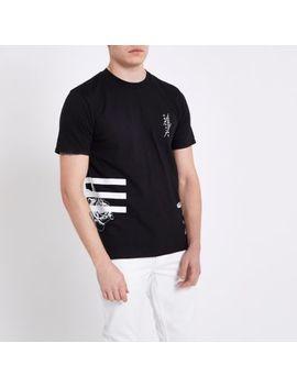 Black Floral Print Crew Neck Slim Fit T Shirt by River Island