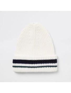 Cream Stripe Knit Fisherman Beanie Hat by River Island