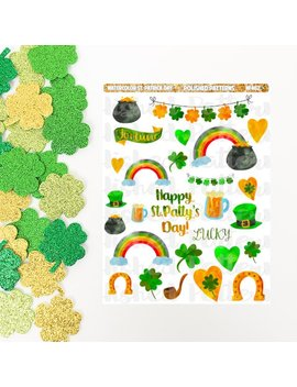 Watercolor St. Patricks Day Planner Stickers (Nf462) High Gloss, Semi Gloss, Matte Planner Stickers by Etsy