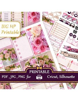 Weekly Kit Big Happy Planner Stickers Beige And Pink Roses Happy Planner Printable Floral Sticker Vertical Large Happy Planner Coupon Codes by Etsy