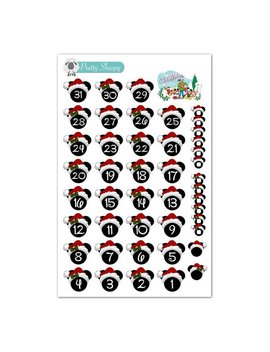 Disney Christmas Countdown Or Date Cover Stickers   Disney Planner Stickers by Etsy