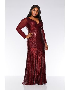 Curve Wine Sequin V Neck Maxi Dress by Quiz