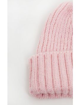 Pink Ribbed Knitted Beanie by Prettylittlething