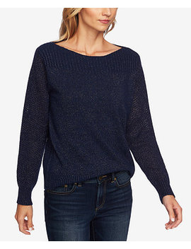 Metallic Boat Neck Sweater by Ce Ce