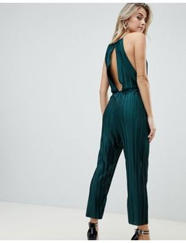 Pretty Little Thing Open Back Culotte Jumpsuit In Green by Pretty Little Thing