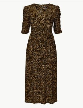 Animal Print Half Sleeve Midi Tea Dress by Marks & Spencer