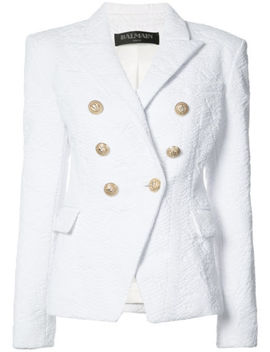 Balmain   New $2500 Python Print Blazer Jacket Us 6  White Double Breasted Coat by Balmain