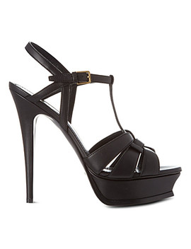 Classic Tribute Sandals In Black Leather by Saint Laurent