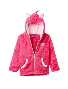 Unicorn Faux Fur Zip Hoodie (Toddler Girls) by Betsey Johnson